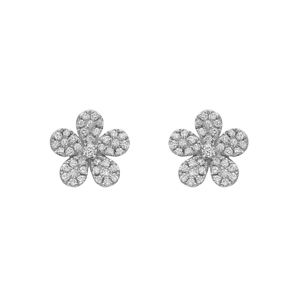 Pavé Diamond Flower Earstuds