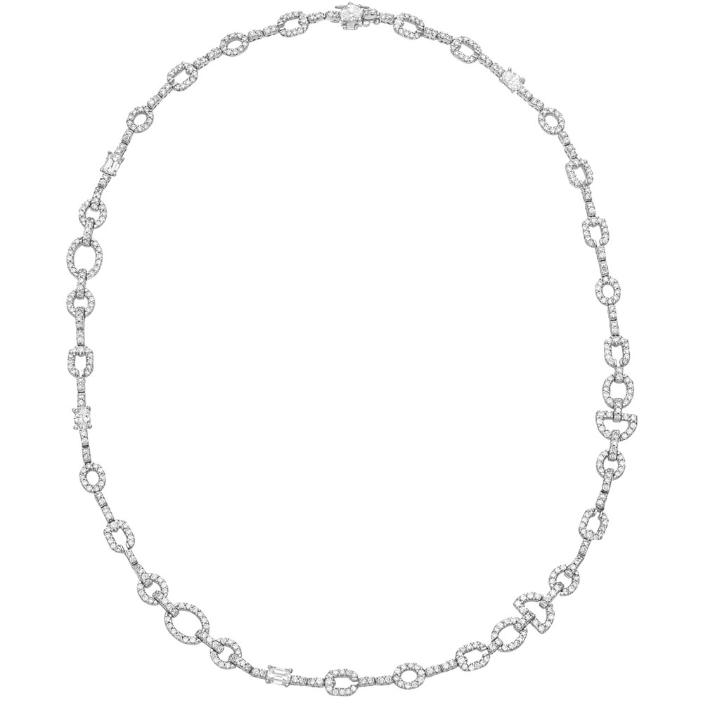 Pavé Diamond Geometric Link Necklace