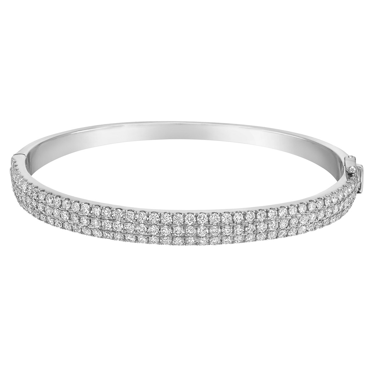 18k White Gold & Pavé Diamond Bangle (~3 ct tw)