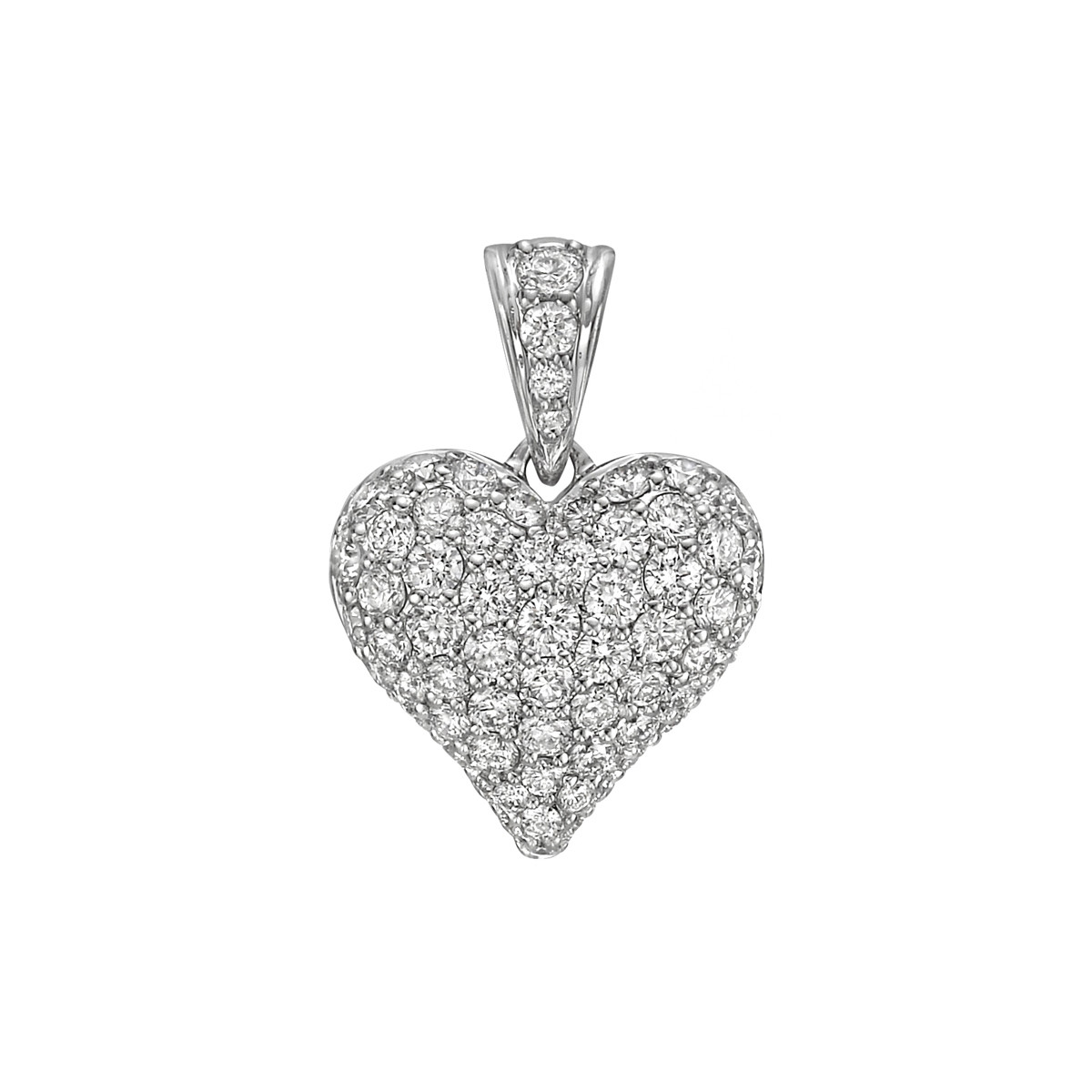 Medium Pavé Diamond Domed Heart Pendant