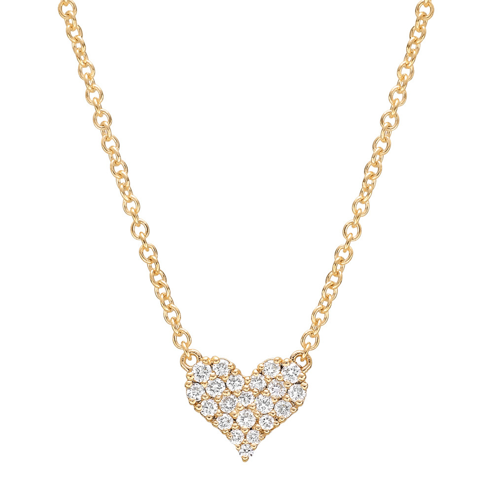 Small 18k Yellow Gold & Pavé Diamond Heart Pendant