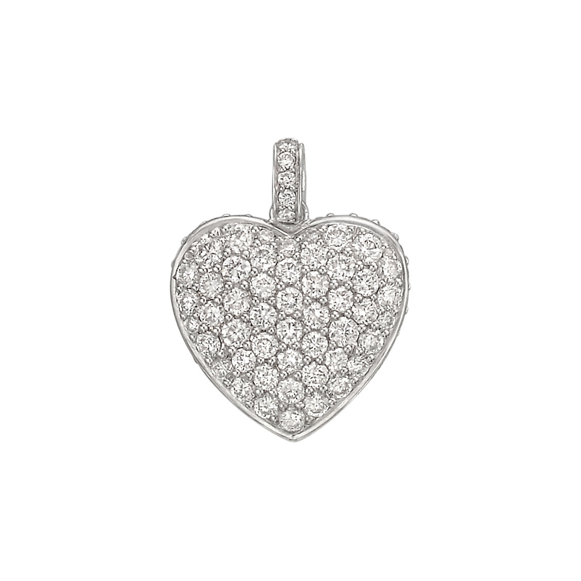 18k White Gold & Pavé Diamond Heart Pendant