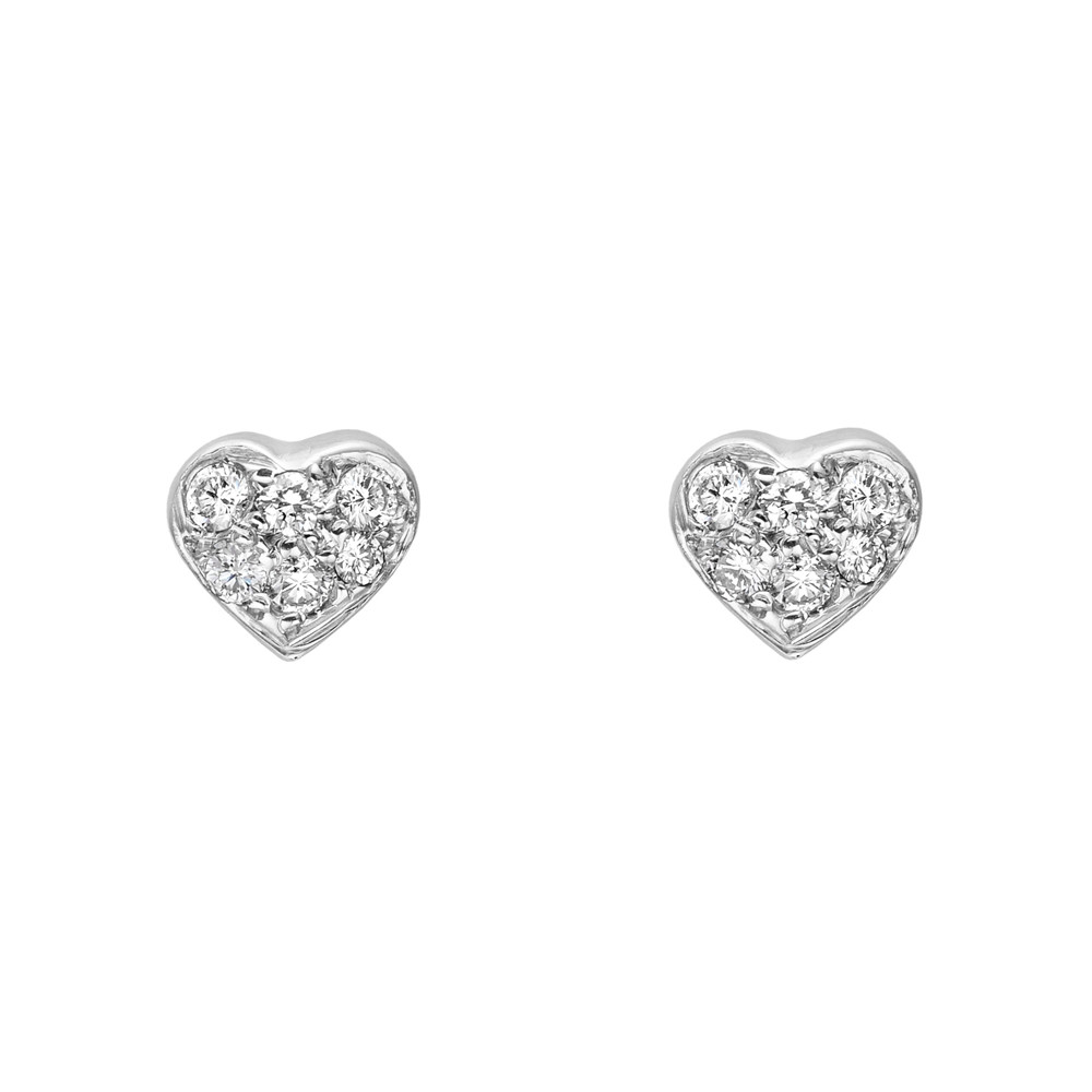 Small 18k White Gold & Pavé Diamond Heart Earstuds