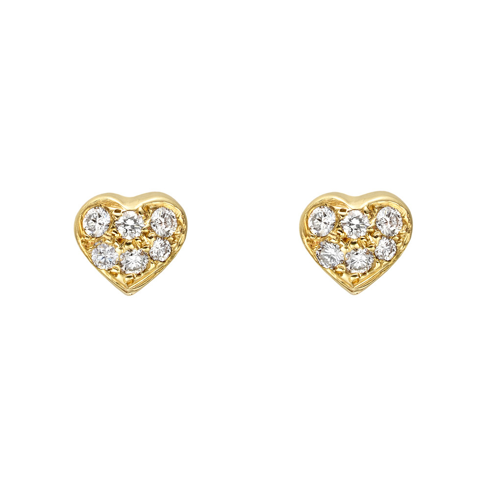 Small 18k Yellow Gold & Pavé Diamond Heart Earstuds
