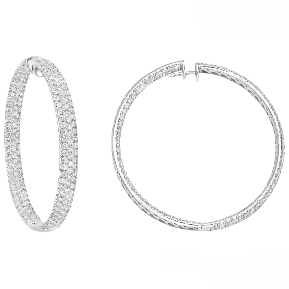Large Round Shaped Pavé Diamond Hoop Earrings In 18k White Gold 13 57 Total Carats Of Brilliant Cut Diamonds Set Three Rows To The Front Inside