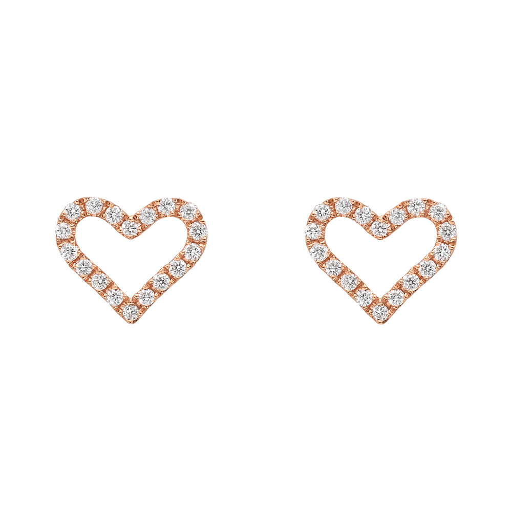 Small 18k Pink Gold & Diamond Heart Earstuds