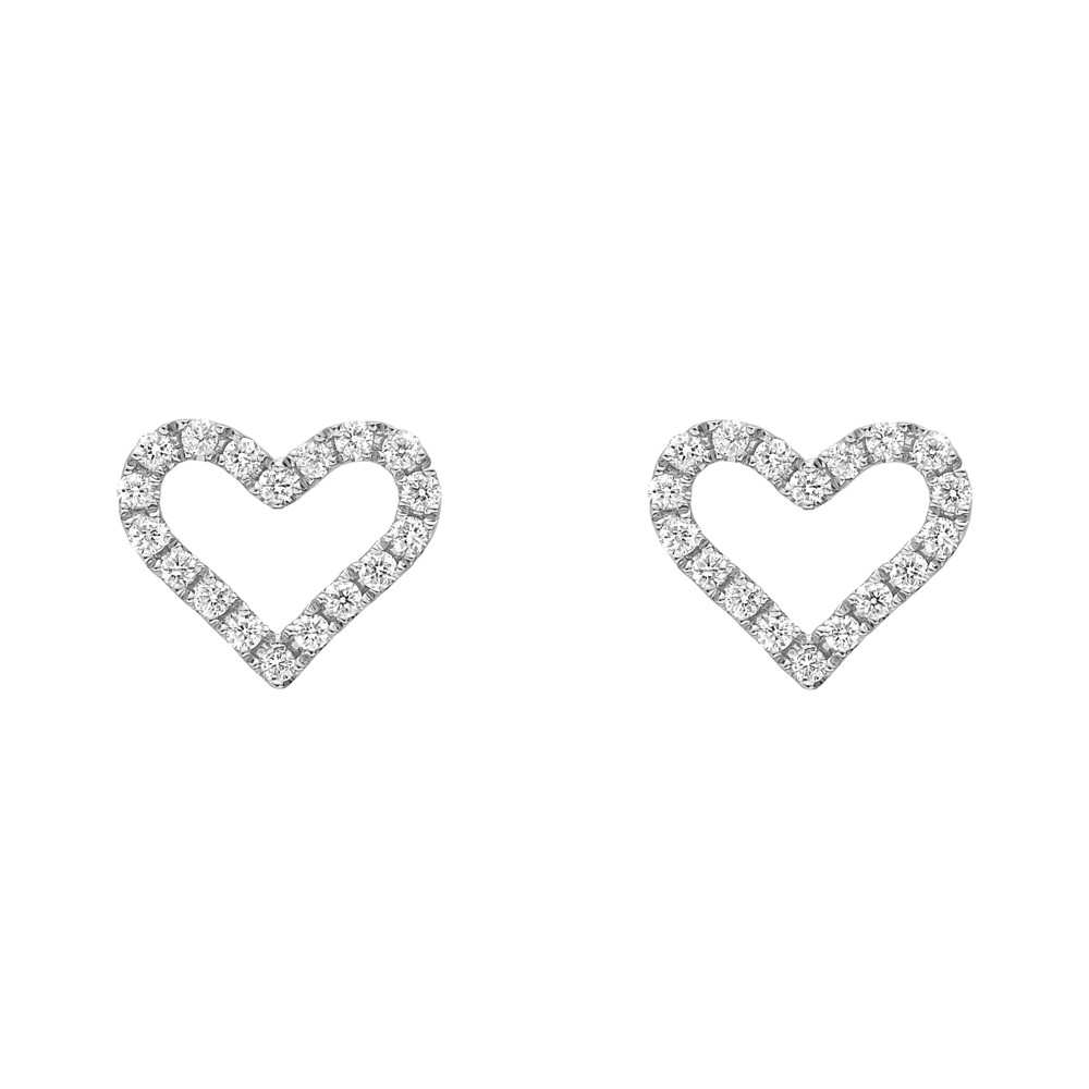 Small 18k White Gold & Diamond Heart Earstuds