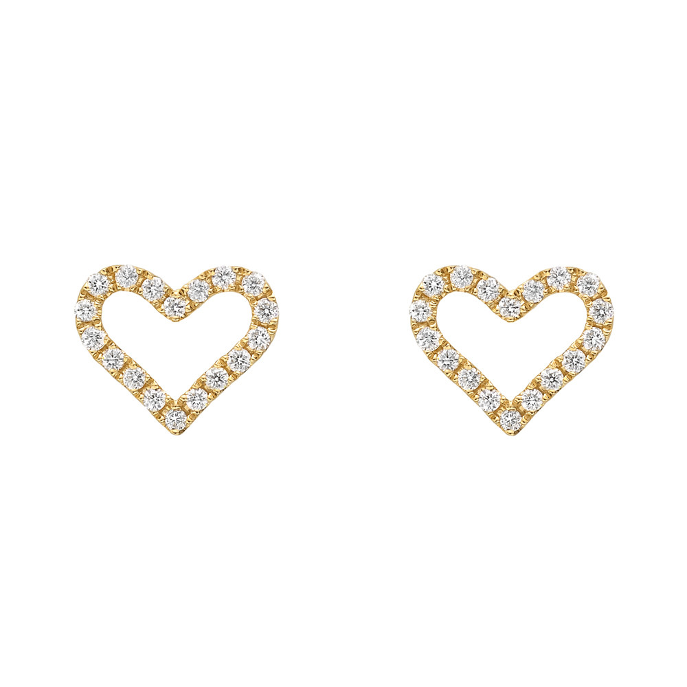 Small 18k Yellow Gold & Diamond Heart Earstuds