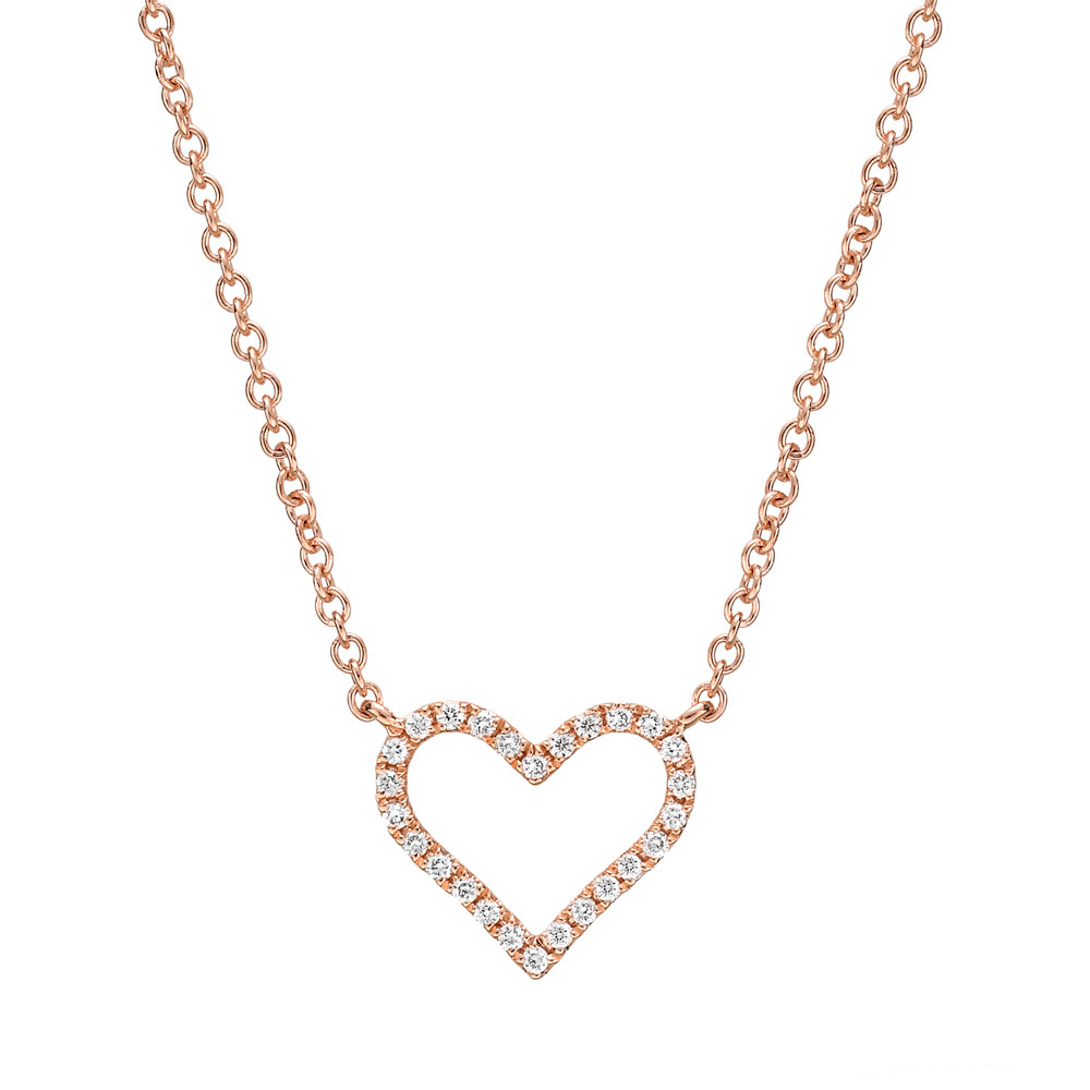 Small 18k Pink Gold & Diamond Heart Pendant