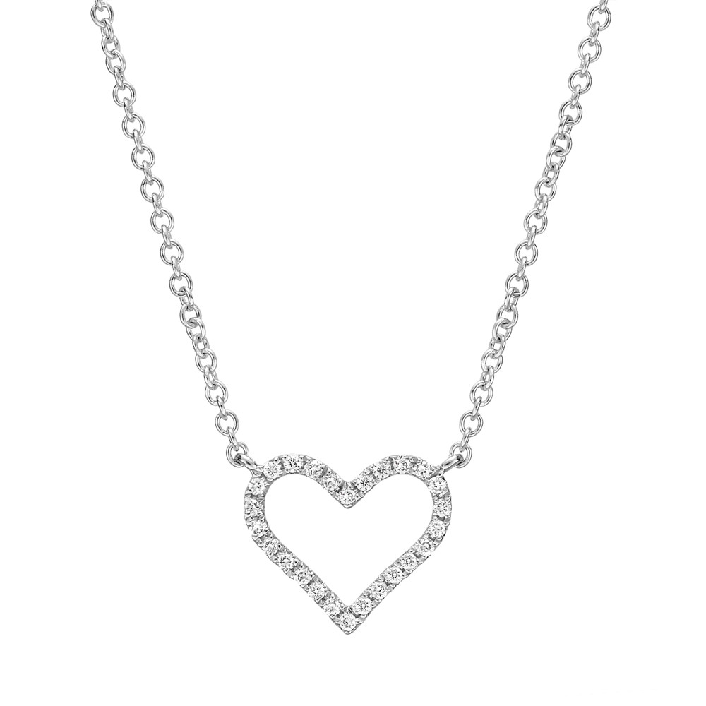 Small 18k White Gold & Diamond Heart Pendant