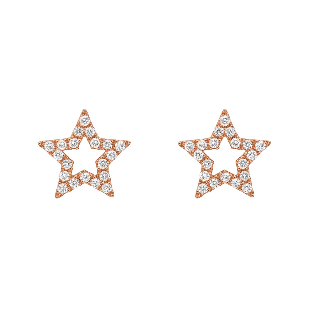 Small 18k Pink Gold & Diamond Star Earstuds