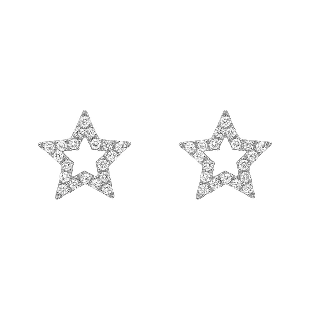 18k White Gold & Diamond Open Star Earstuds