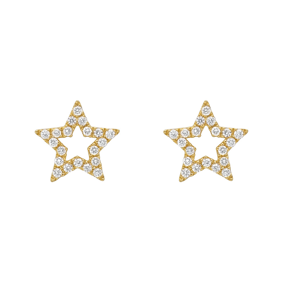 18k Yellow Gold & Diamond Open Star Earstuds