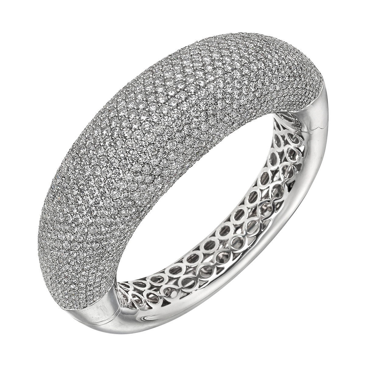 Pavé Diamond Domed Bangle Bracelet (~40ct tw)