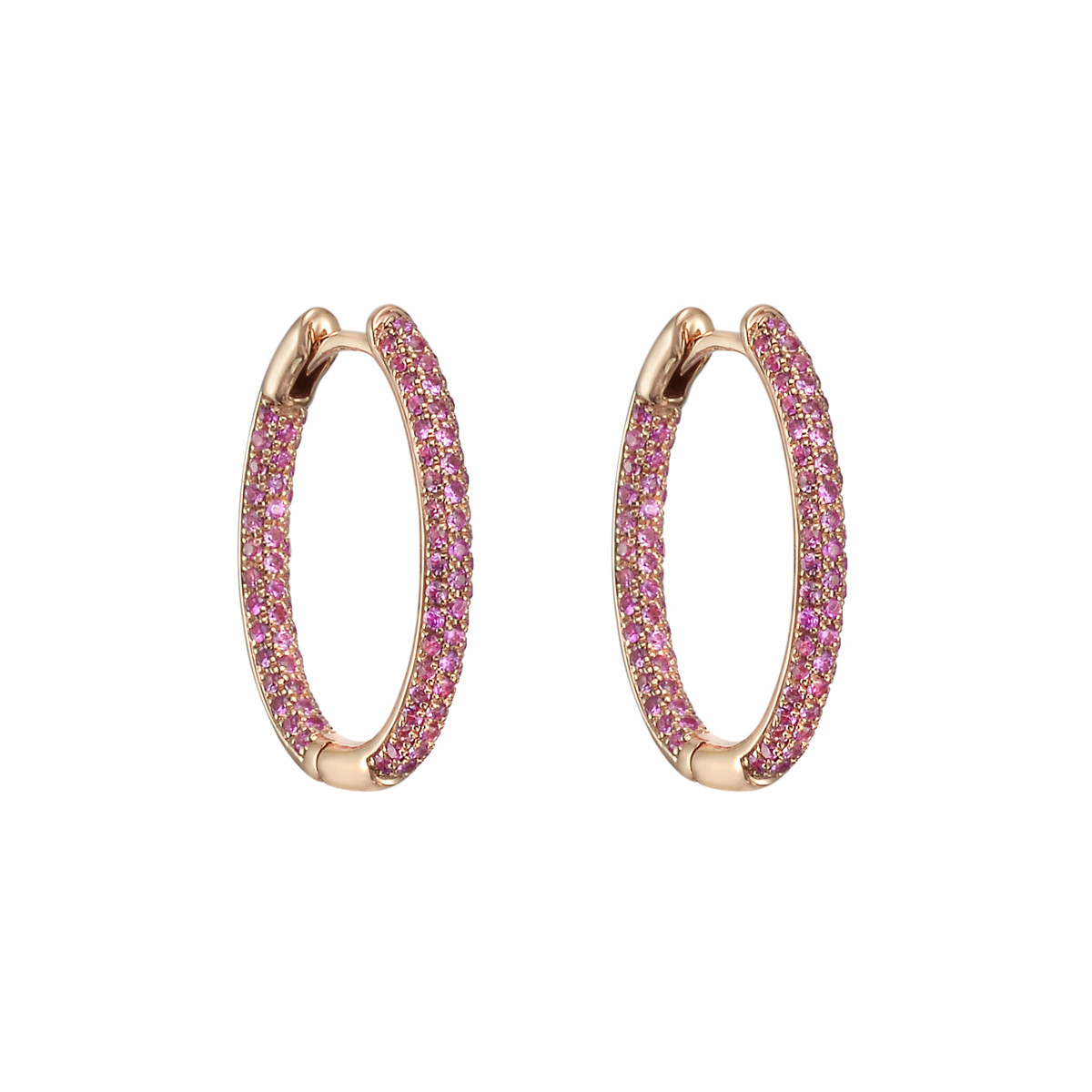 Small Pavé Pink Sapphire Hoop Earrings