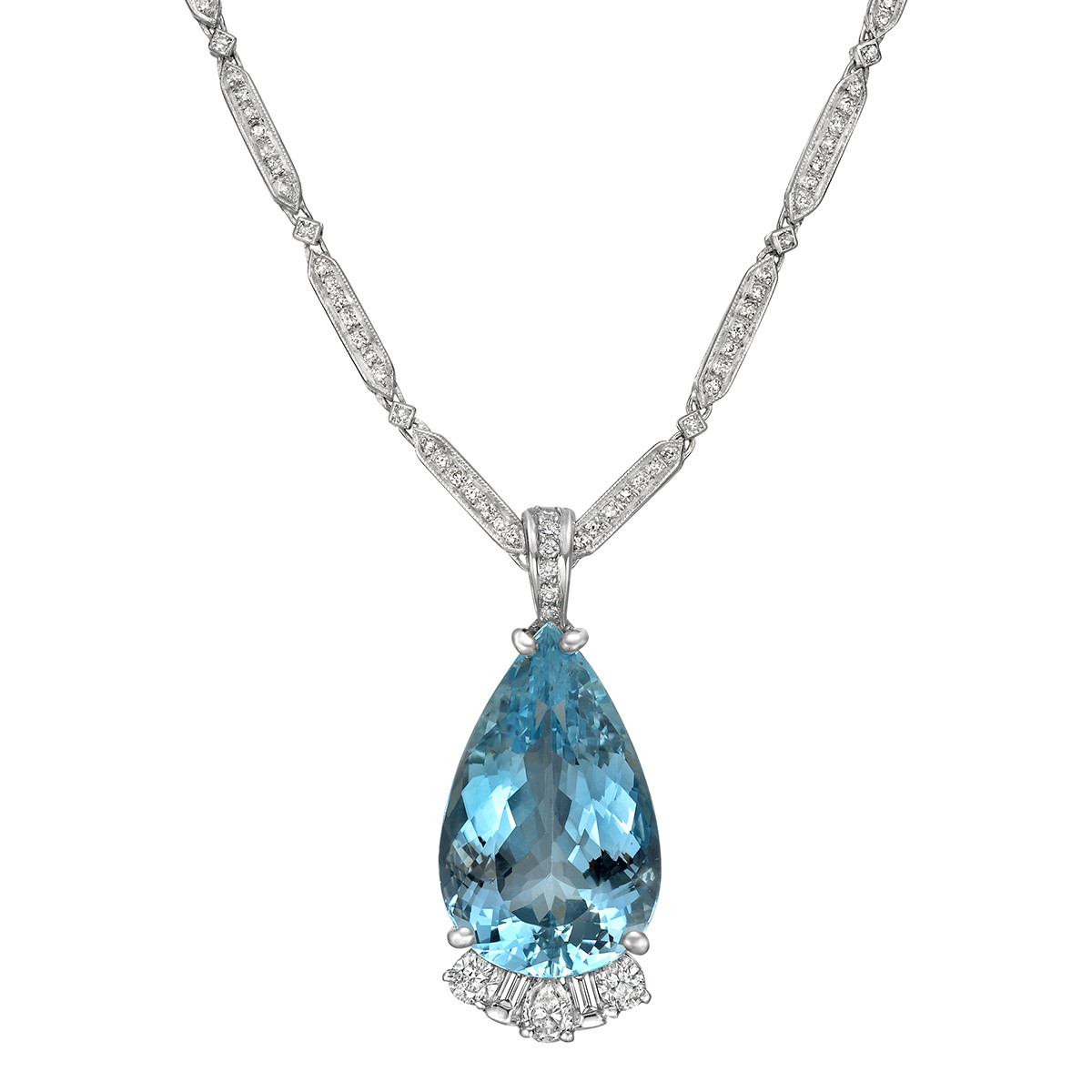 Aquamarine & Diamond Pendant Necklace