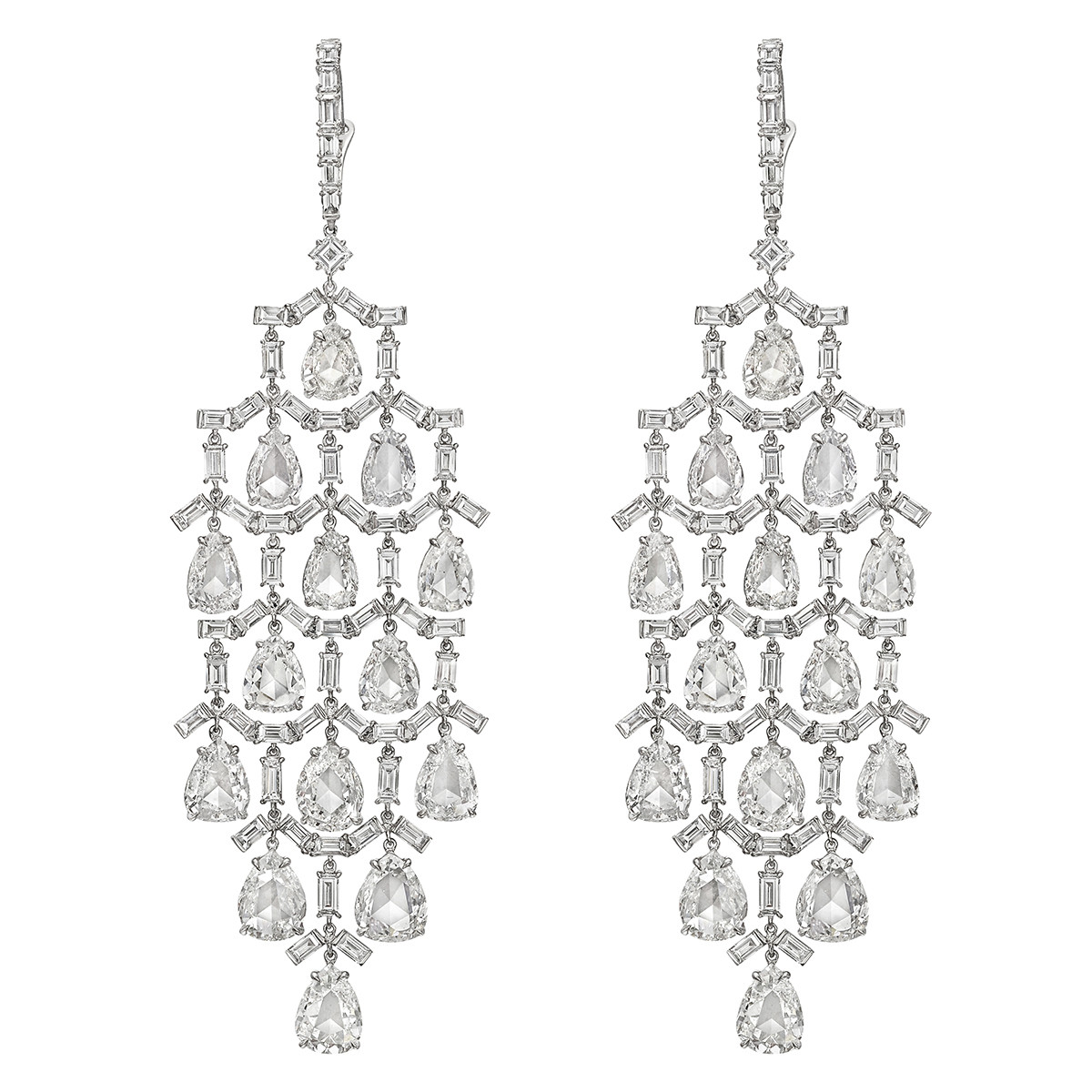 Pear & Baguette-Cut Diamond Chandelier Earrings