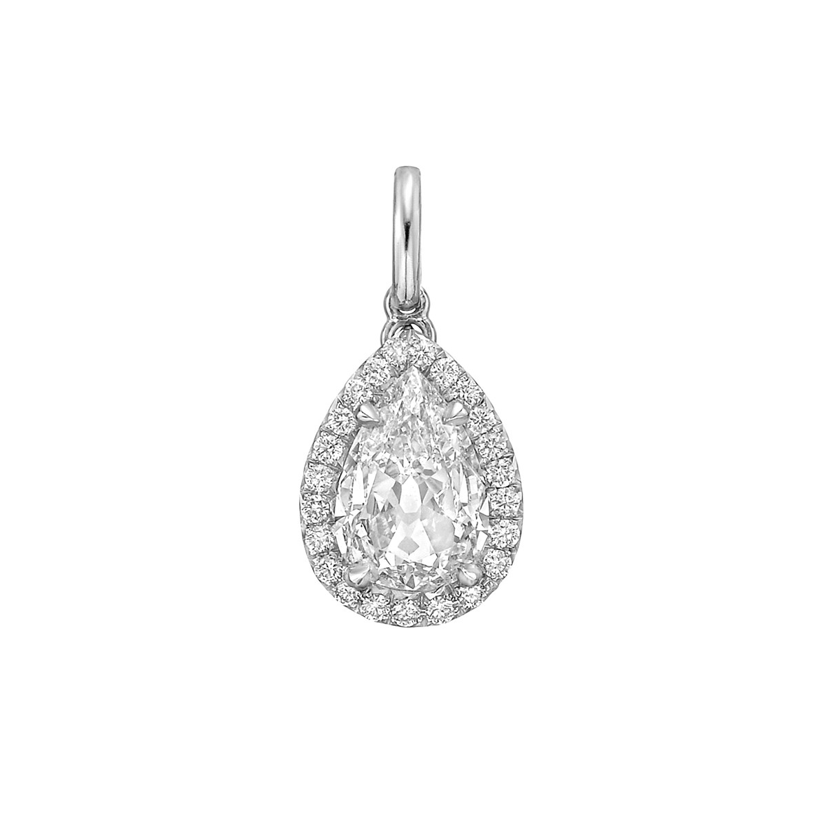 1.17 Carat Pear Brilliant Diamond Halo Pendant
