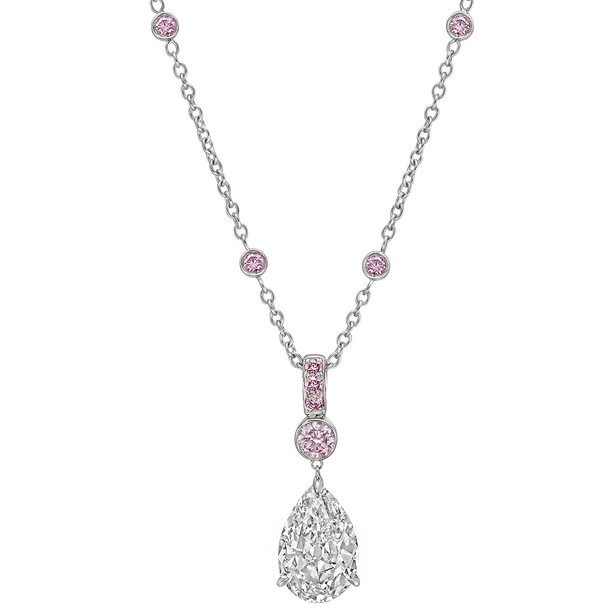 3.52ct Pear-Shaped Diamond Pendant Necklace