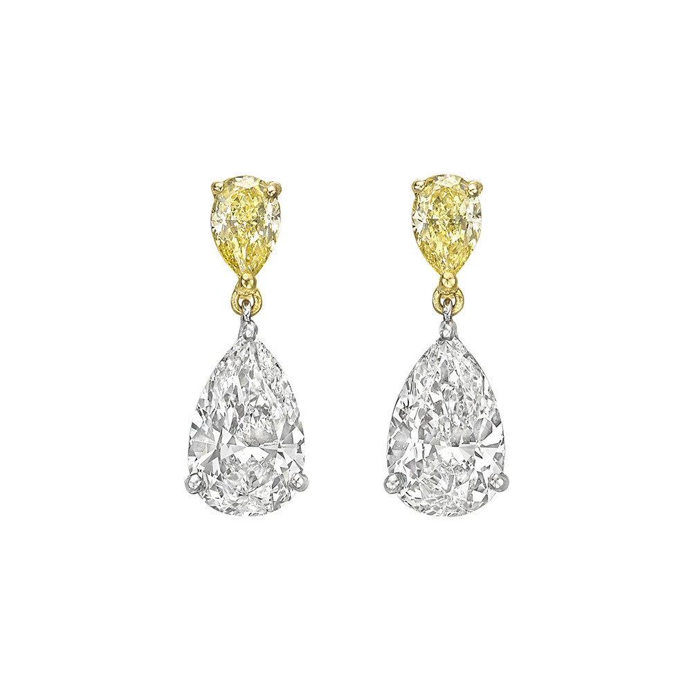 Pear Shaped Colorless Yellow Diamond Drop Earrings