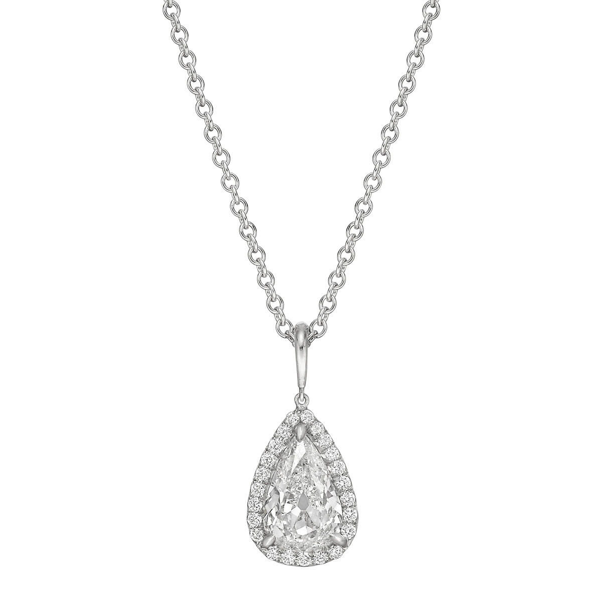 1.51 Carat Pear Brilliant Diamond Halo Pendant