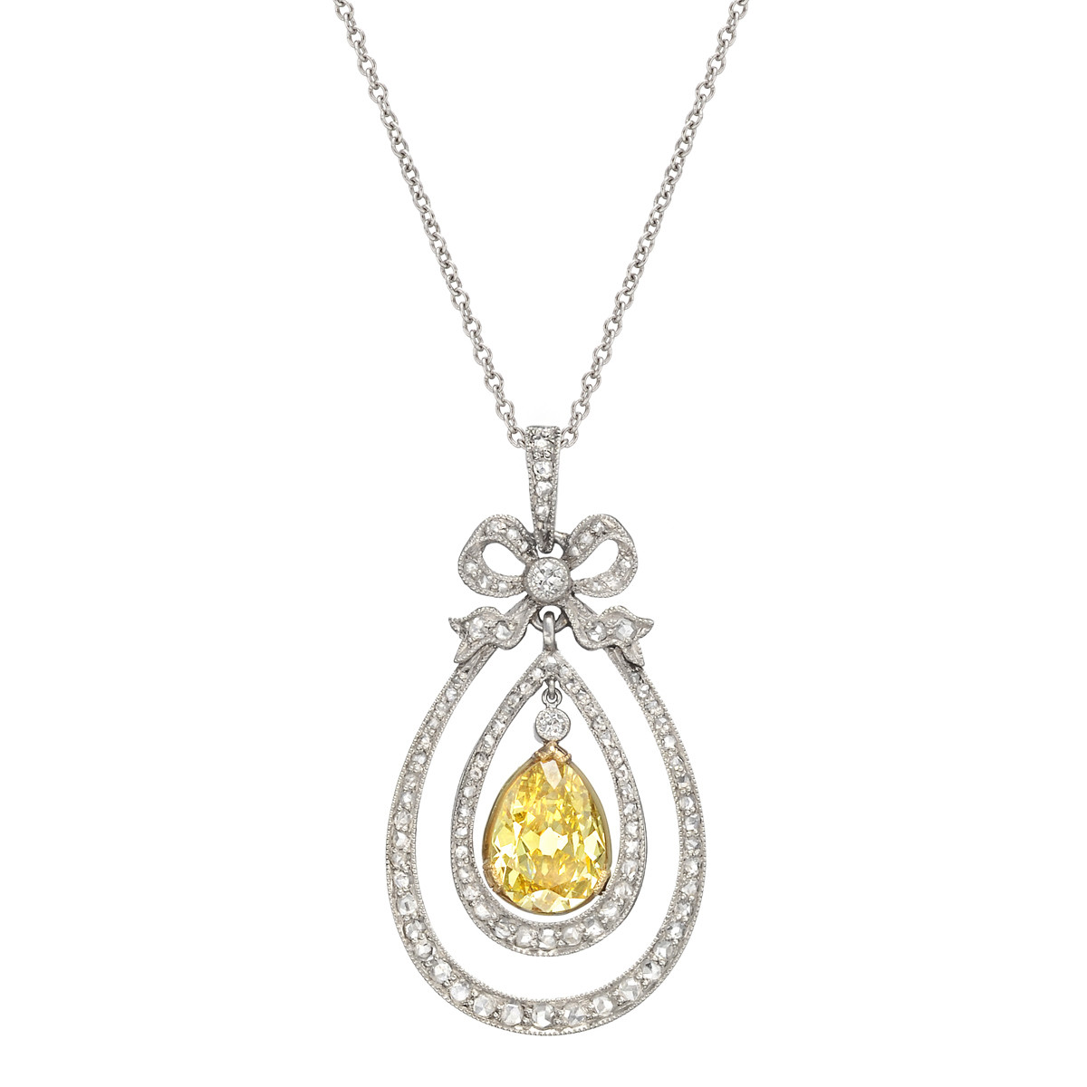 Antique Yellow & White Diamond Pendant