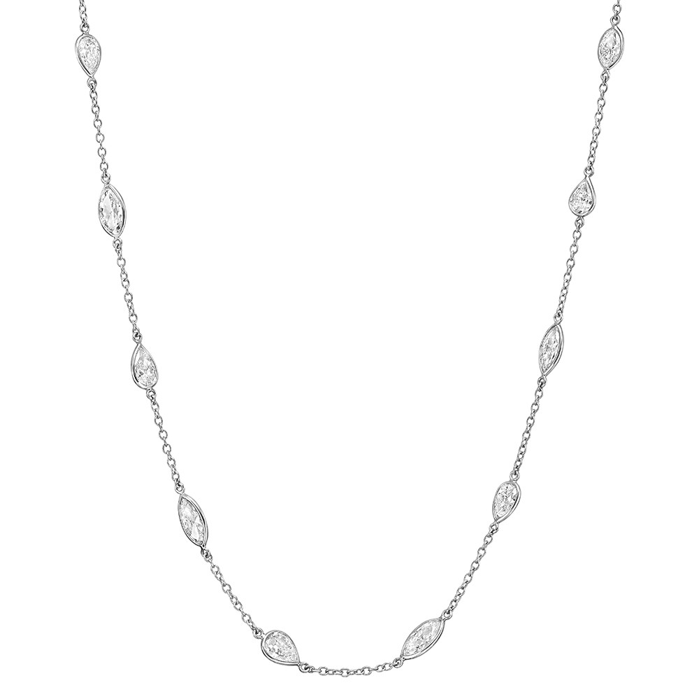 Pear & Marquise Diamond Chain Necklace (9.08 ct tw)