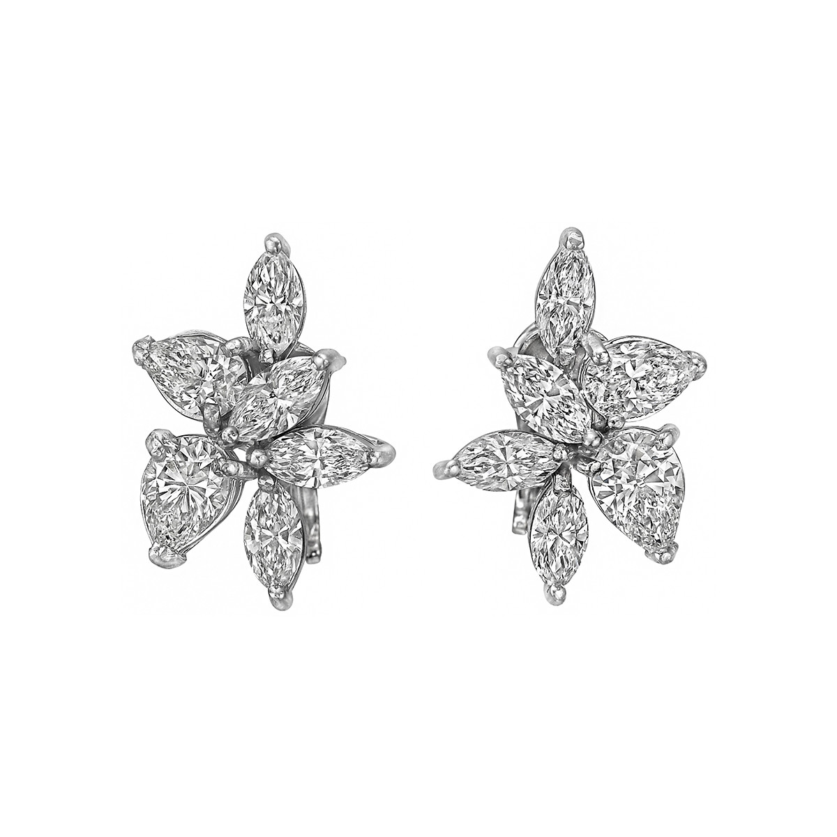 Pear & Marquise Diamond Cluster Earrings