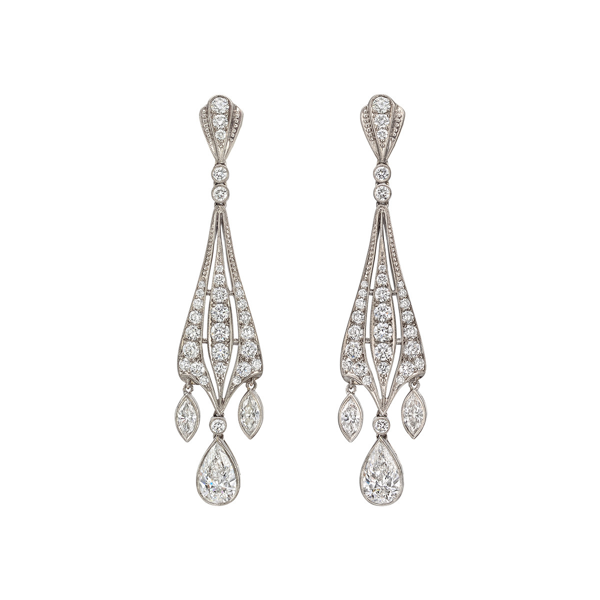 Pear & Marquise Diamond Dangle Earrings