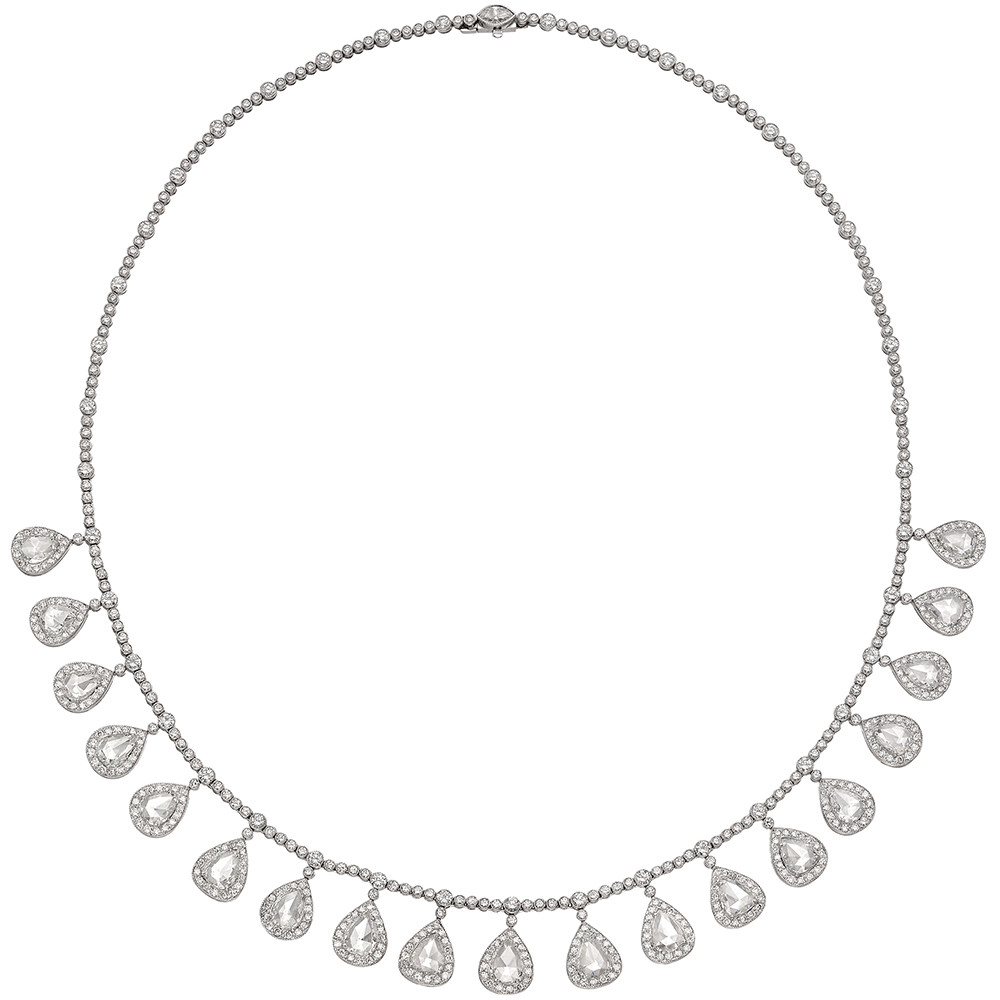 Rose-Cut Diamond Fringe Necklace (~12 ct tw)