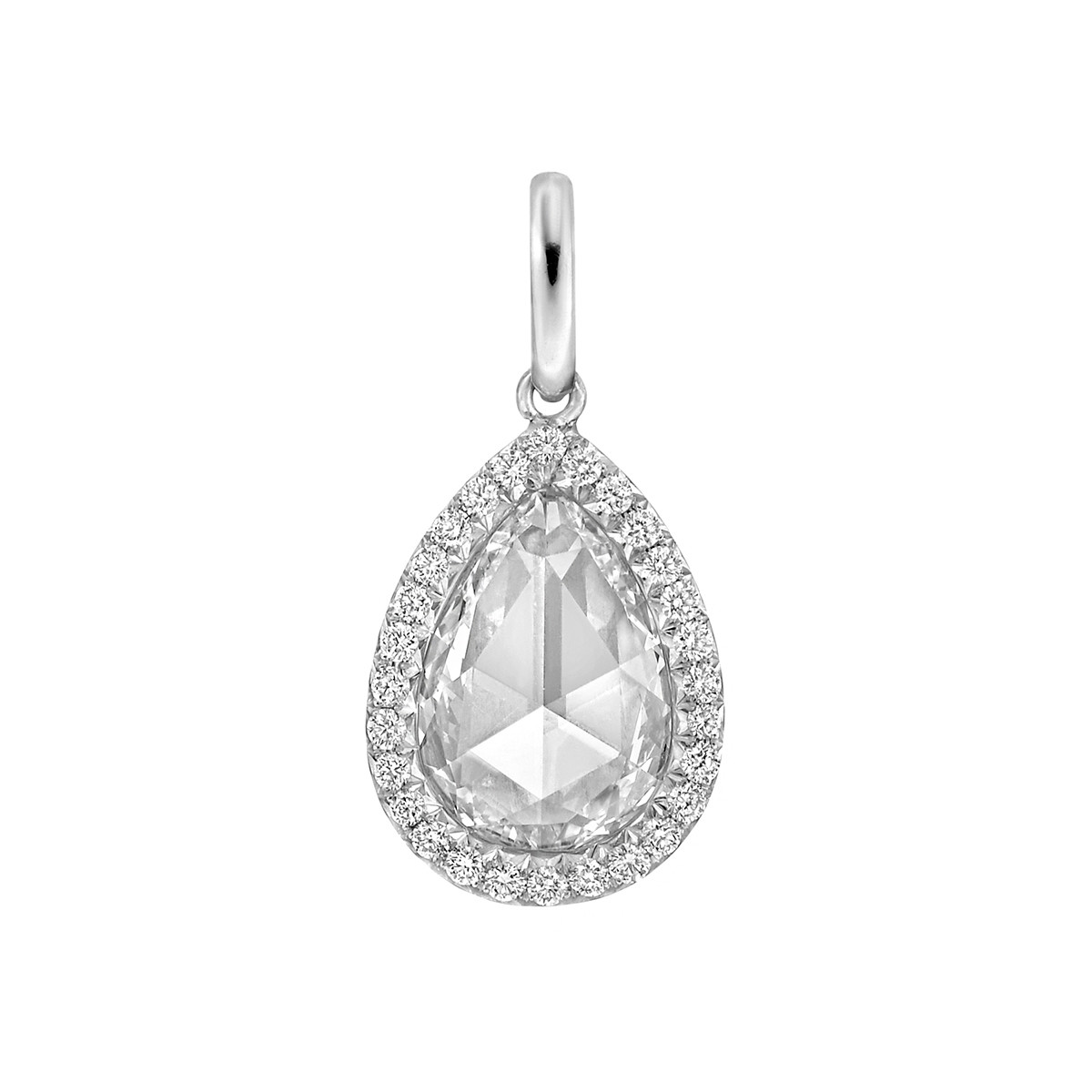 "1.51ct Pear Rose-Cut Diamond ""Oriana"" Pendant"