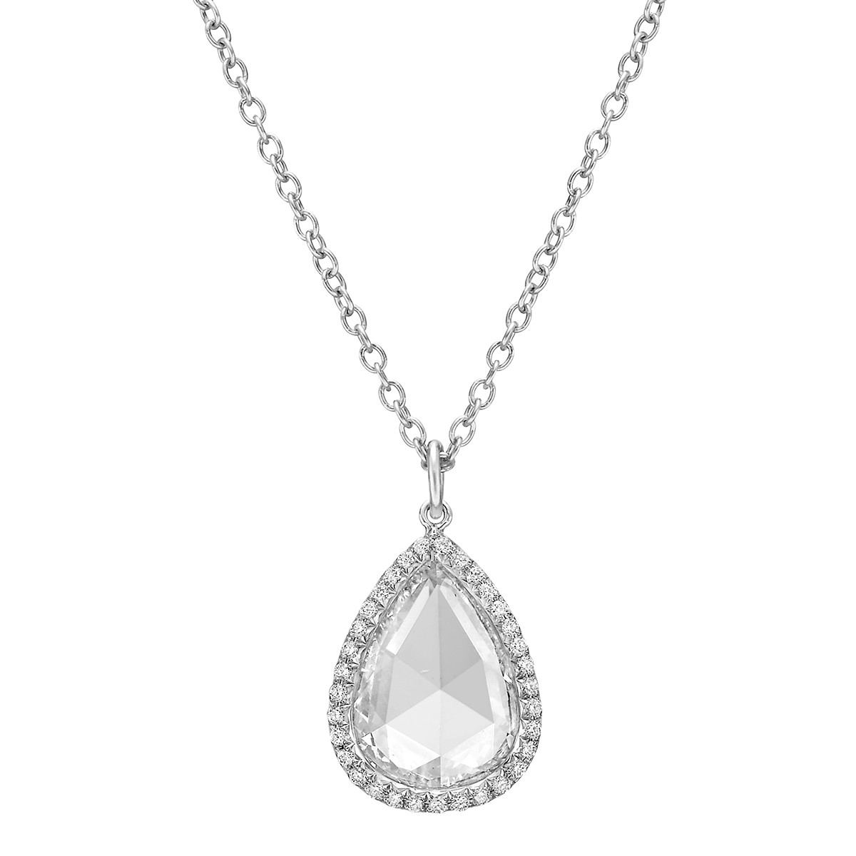 "2.18 Carat Pear Rose-Cut Diamond ""Oriana"" Pendant"