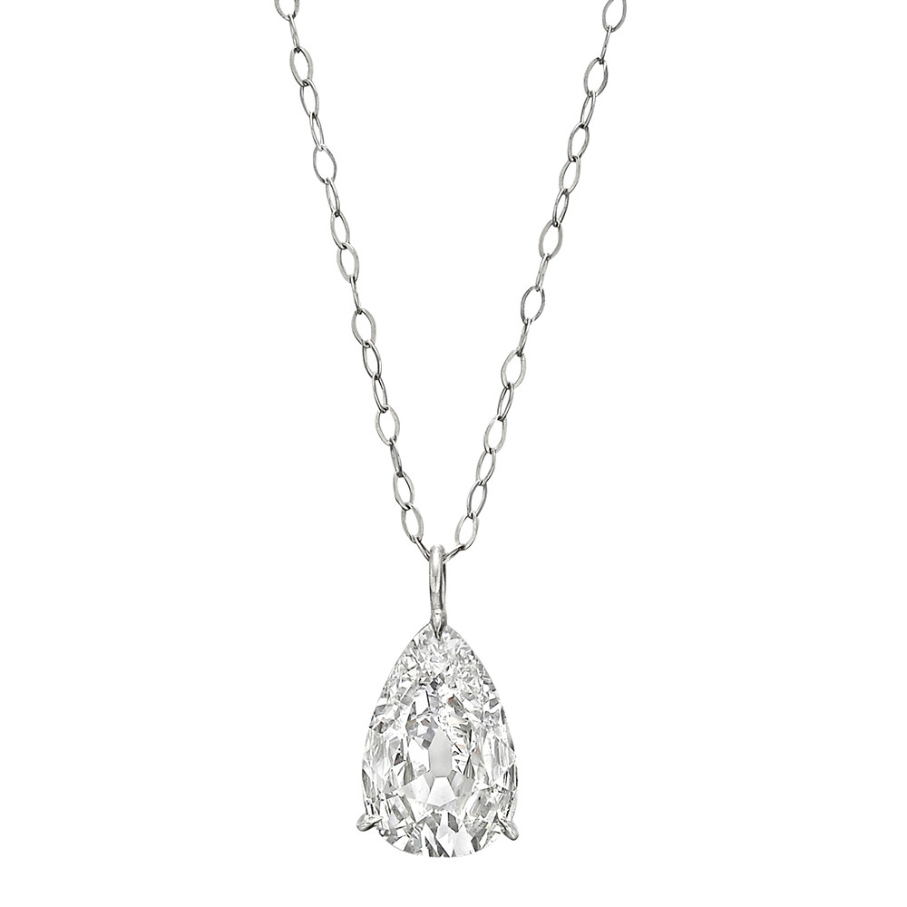 necklace pendants london necklaces shape pear single diamond pendant platinum