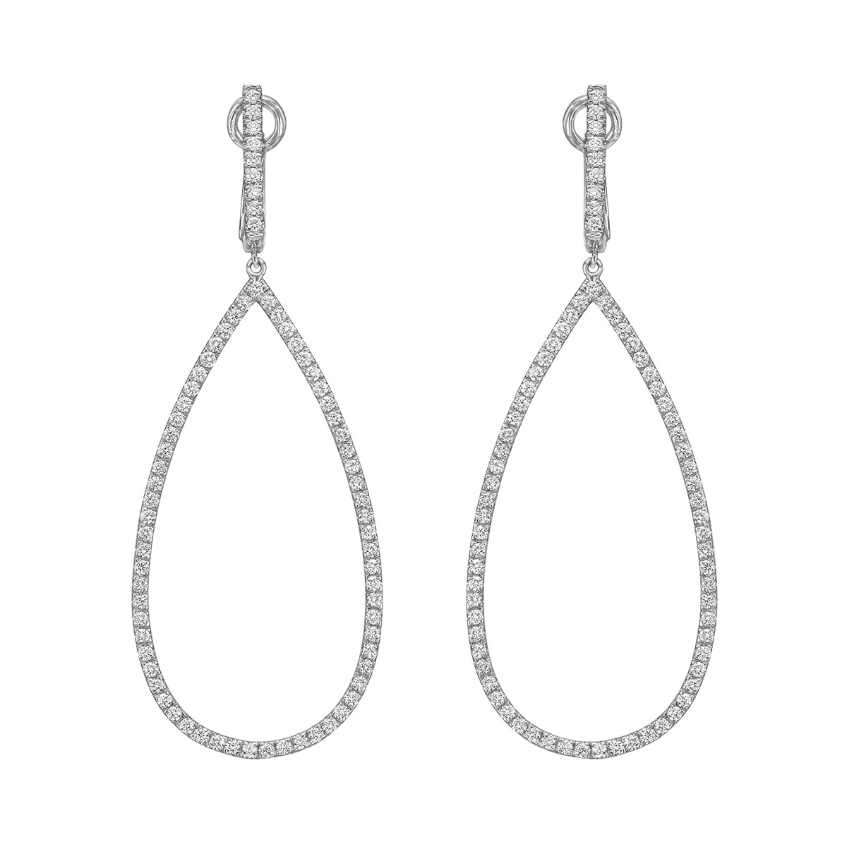 Diamond Pear-Shaped Open Drop Earrings