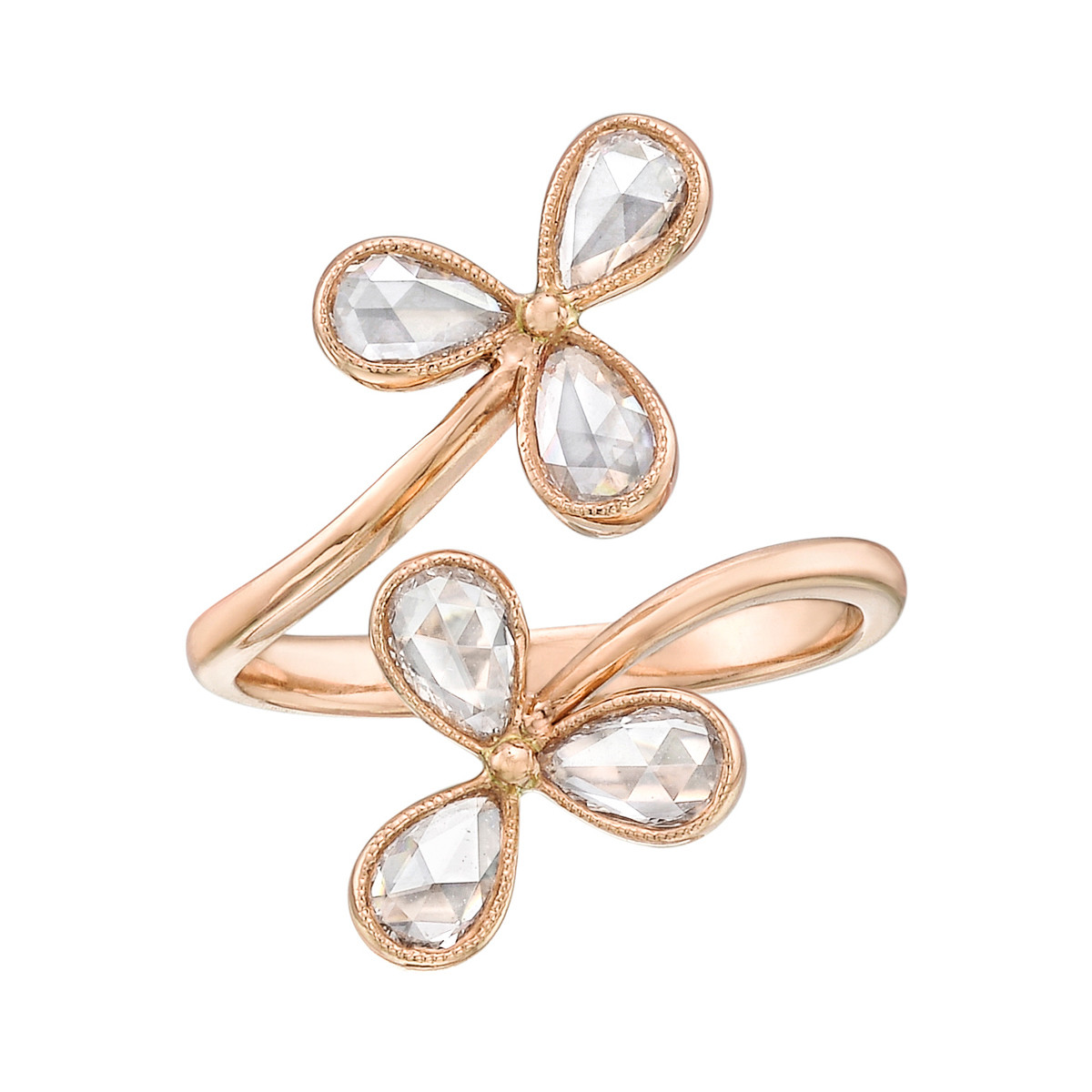 18k Pink Gold & Diamond Flower Bypass Ring