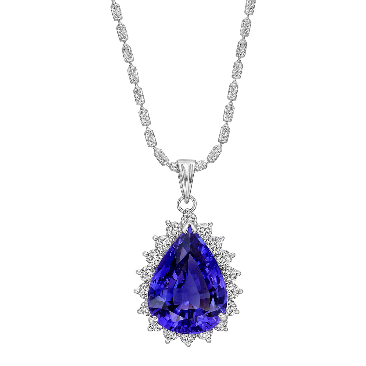 10.35ct Tanzanite & Diamond Pendant Necklace