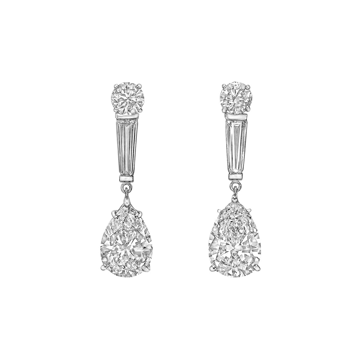 Pear, Round & Baguette Diamond Pendant Earrings