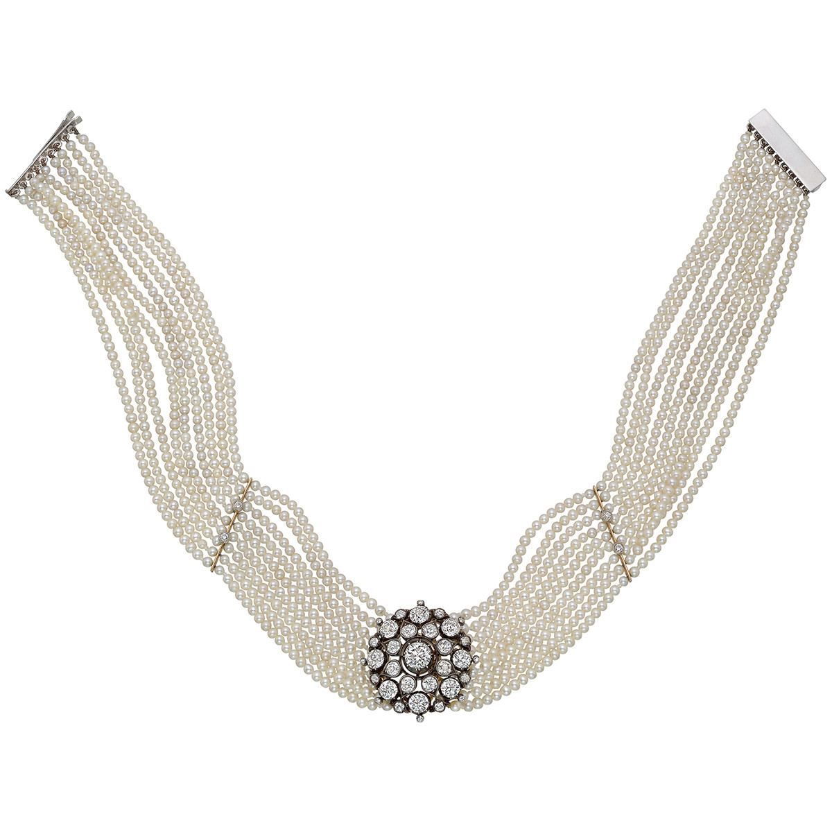 9-Strand Pearl & Diamond Choker Necklace