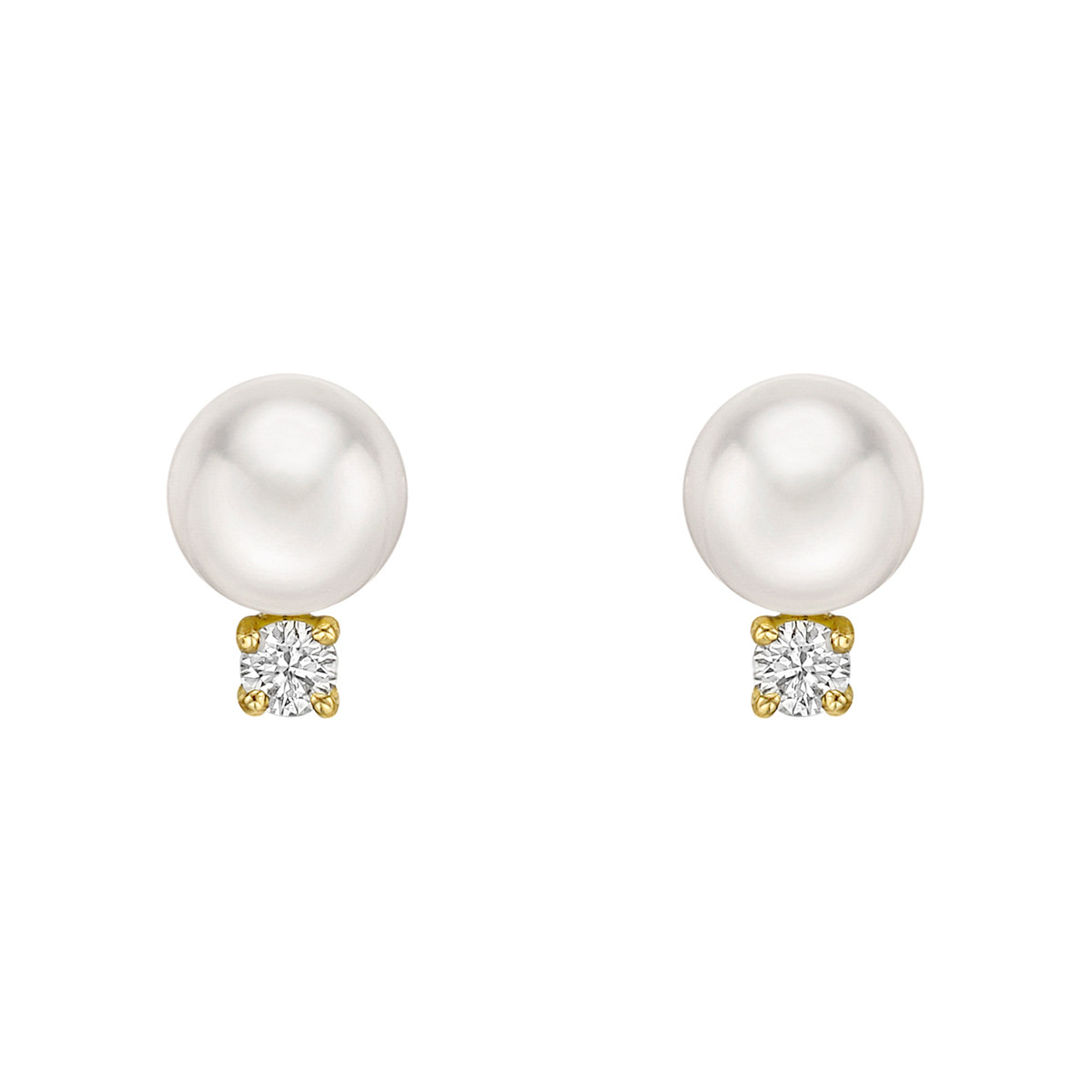 Cultured Pearl Diamond Stud Earrings 7 5mm