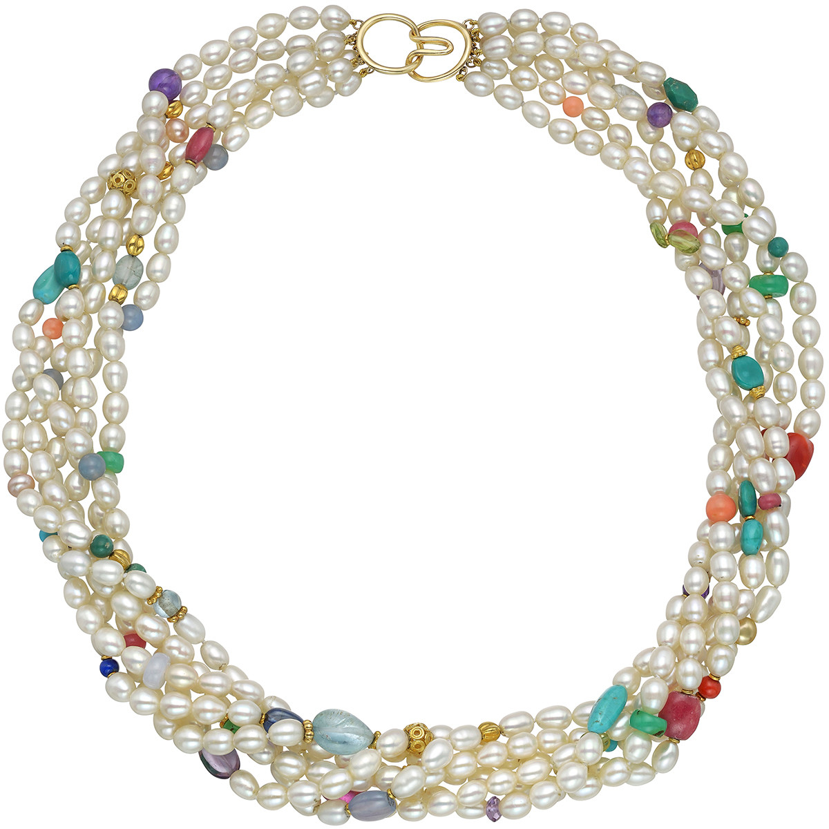 6-Strand Pearl & Gemstone Bead Torsade Necklace