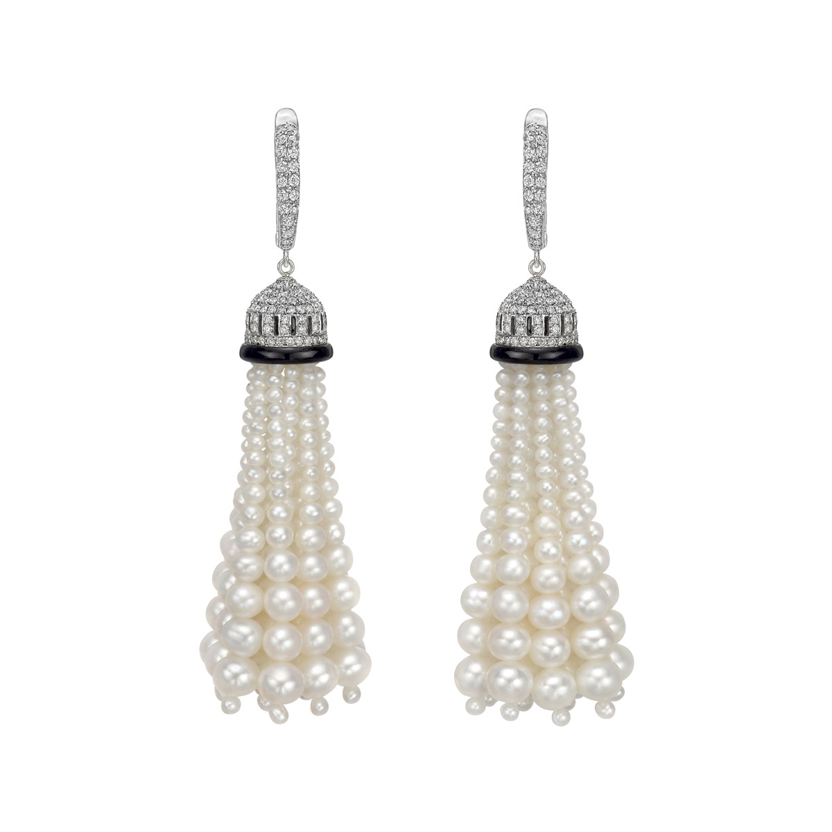 Long Pearl & Diamond Tassel Earrings