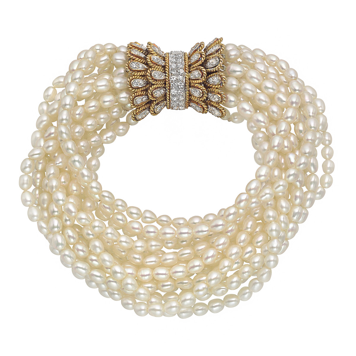 Pearl Torsade Bracelet with Diamond Bow Clasp