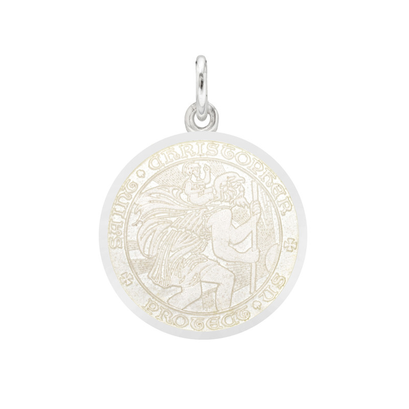 Small Silver St. Christopher Medal with White Enamel