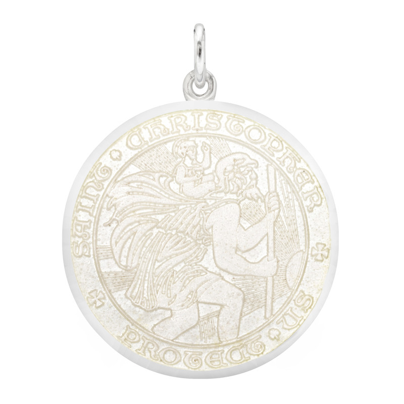 Large Silver St. Christopher Medal with White Enamel
