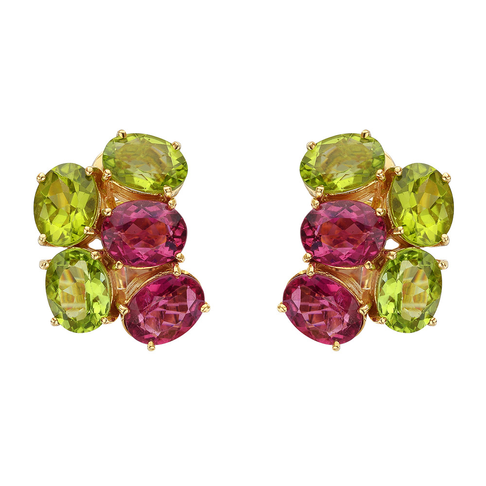 Peridot & Rubellite Cluster Earrings