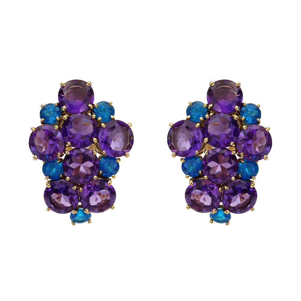 Amethyst & Apatite Cluster Earrings