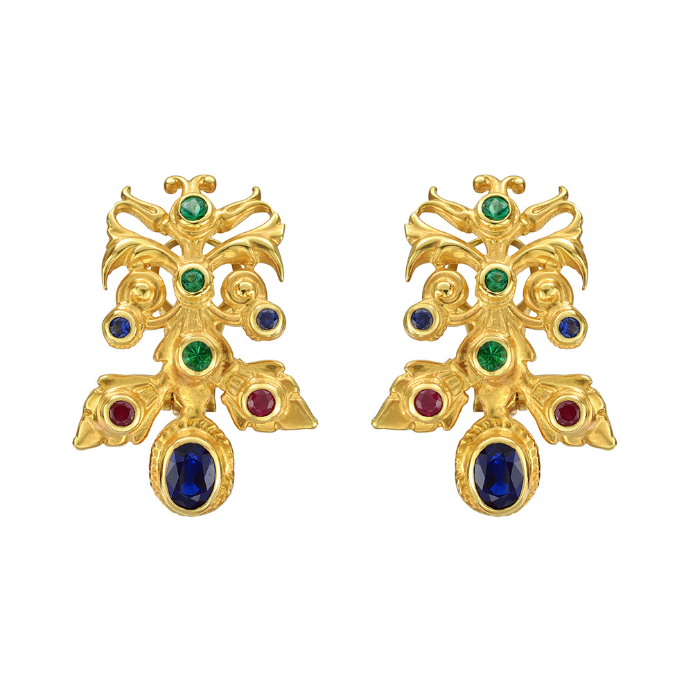 "18k Gold & Gemstone ""Hungarian"" Earclips"
