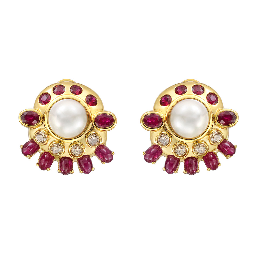 Mabe Pearl, Ruby & Diamond Earclips