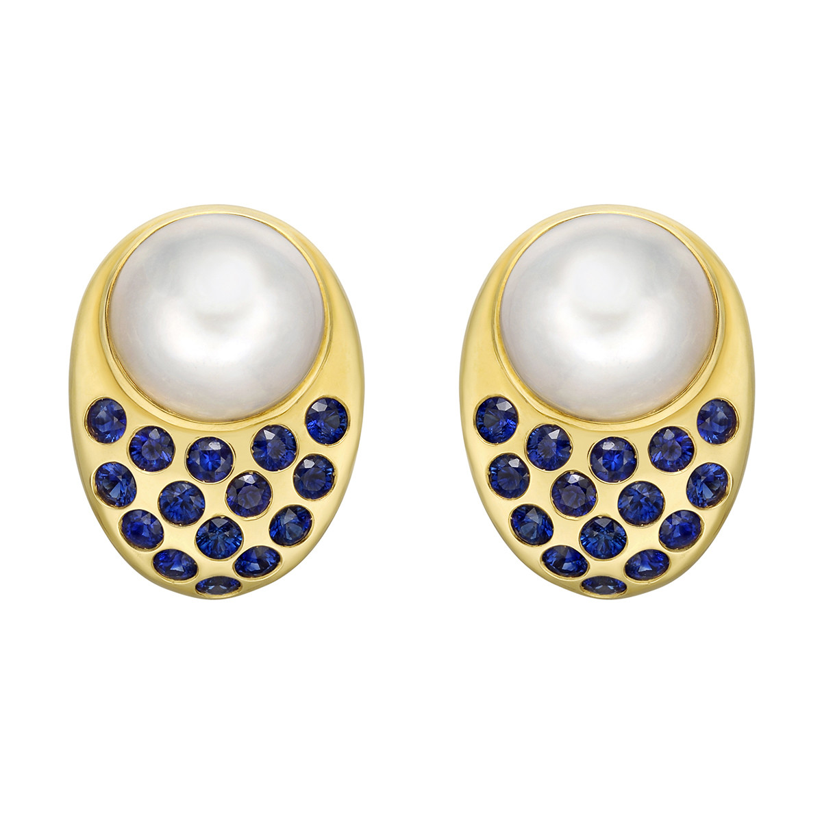 "Mabe Pearl & Sapphire ""Coco"" Earrings"