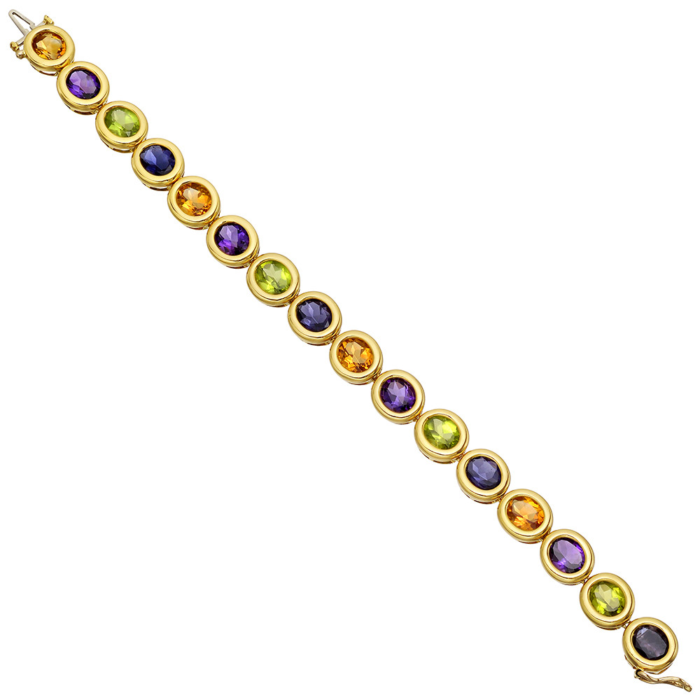 Bezel-Set Multicolored Gemstone Line Bracelet